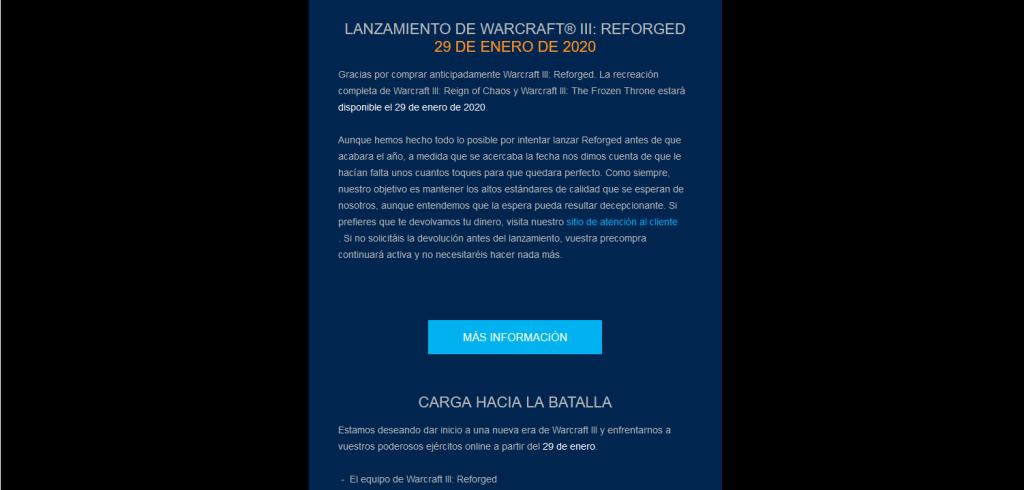 reembolso reserva WarCraft III Reforged