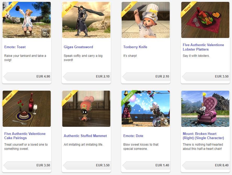 objetos opcionales Final Fantasy XIV